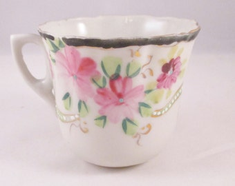Demitasse Cup, Floral Motif, Jeweled Ribbon, Blue Border. Birthday Gift, Thank You Gift, Get Well Gift,