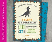 Self Editable Dinosaur Birthday Invitation, Instant Download, T-Rex, Party Printable, Double Sided, Diy, Personalize, PDF File, Boy Birthday