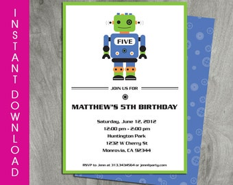 Robot Birthday Invitation, Self Editable, Instant download, Double Sided, Robot Party Printable, Sci-Fi, Diy, Digital Pdf File, Template