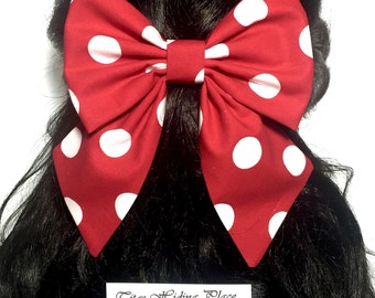 Red Polkadots Hair Bow, Big Bow, Fabric Bow, Cosplay Bow, Minnie Mouse Bow, Cheer Bow, Kawaii Bow, Hand Made Bow, Large Hair Bow