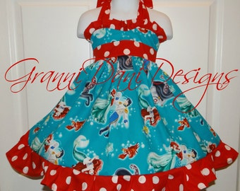 Disney Ariel little mermaid princess halter twirl dress ruffle baby toddler girl 6 12 18 24 months 2t 3t 4t 5t 6 7 8 teal turquoise red