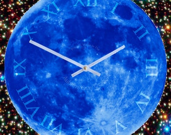 Wall Clock, Quartz Clock with Once Upon A Blue Moon Face 16 inch Diameter