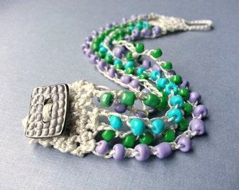 Bead Crochet Cuff Bracelet, Lilac Lavender Purple, Fern Green, Turquoise Blue, Summer Boho Bohemian Jewelry, Beach Jewelry, TamiLopezDesigns