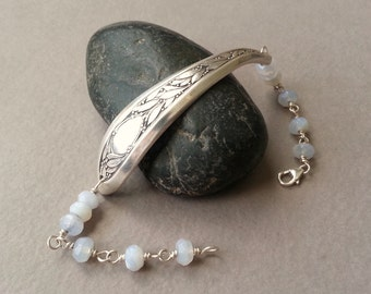 Silver Spoon Bracelet, Pale Lavender Chalcedony Gemstones, Rosary Chain Beaded Links, Sterling Silver Wire, Modern Boho Style, Found Object