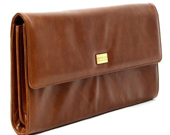 Large Flap Over Leather Purse – Taupe Brown