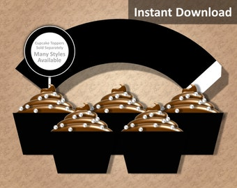 Solid Black Cupcake Wrapper Instant Download, Party Decorations