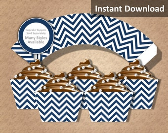 Dark Navy Blue Chevron Cupcake Wrapper Instant Download, Party Decorations
