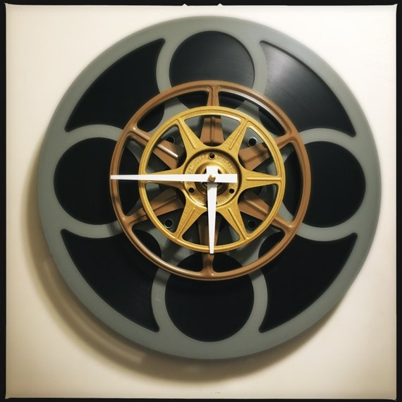 Gray Film Reel Wall Clock Theater Decor Photographer Gift