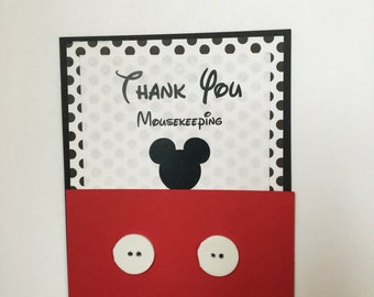 Mickey Mouse mousekeeping envelopes-- Embellished with white buttons