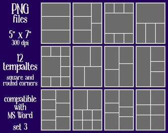 """12 Photo Card templates 5""""x7"""" - PNG files - SET 3 - personal or commercial use"""
