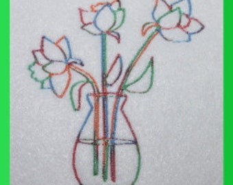 Vase with Flowers  Digitized Machine Embroidery Design