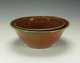 Stoneware pottery bowl set.  Large.  Iron red and cream glazes.  Ready to ship.
