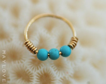 Tragus/Cartilage/Helix piercing gold nose hoop, small gold hoop, Nose Ring - Turquoise Tragus earring - Cartilage Earring - Helix Piercing