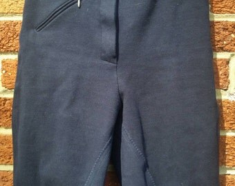 Vtg Equestrian Riding Pants Navy Blue Suede Size 28