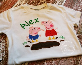 Peppa Pig & George Pig Muddy Puddle Custom Tee Shirt - Customizable -  Infant to Youth 162