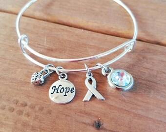 Bone Cancer Awareness Silvertone Expandable Charm Bracelet