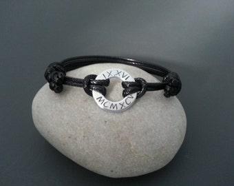 Mens bracelet, washer bracelet, Anniversary Gift for Him, Roman numerals Stamped Washer Bracelet, Boyfriend gift, Black cord bracelet