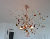Copper Wire HAPPY Chandelier, Glas, Colors, Colorful, Blue, Green. Yellow, Red