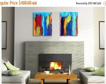 On SALE Diptych Abstract Cityscape, Original Painting, Resin Art painting, large canvas wall art, modern home decor