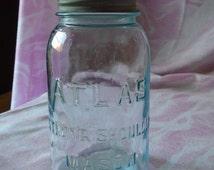 Vintage Blue Atlas Strong Shoulder Mason Jar, 1 Quart Size, #5, Zinc Atlas Lid