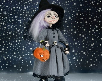 Witch OOAK- Art Doll - Witch-Pagan- Handmade Art Doll - By Doll Artist Cheryl Austin