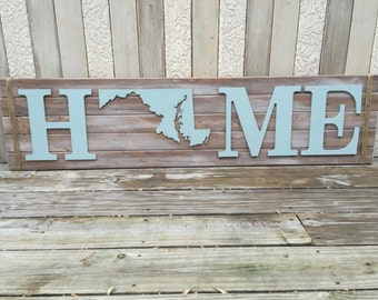 Maryland rustic home sign,coastal wall decor, rustic wall decor, coastal decor, rustic home decor, coastal home decor, maryland wall decor