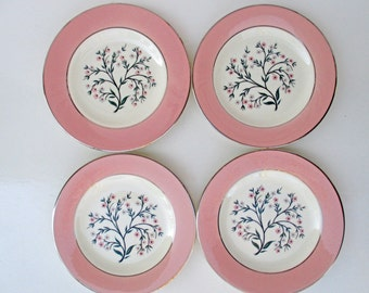 Homer Laughlin China Eggshell Cavalier Springtime Pattern Bread and Butter Plates - Set of 4