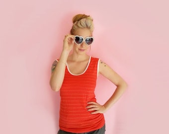 SALE, Stripes top, Red top, Sleeveless top, Summer top, Women's cotton tops, Red shirt with white stripes, red hot, Red sleeveless top