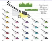 Lawn Mower and Grass Digital Clipart - Instant download PNG files