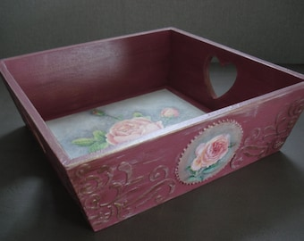 SOLD - Beautiful Handmade Square Wooden Serving Jewellery/ Trinket / Bread Tray ROSES.