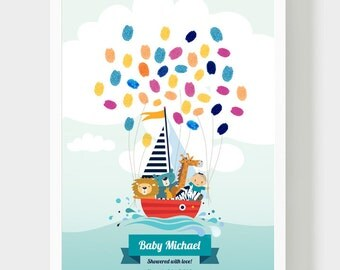 Baby Shower Guestbook, Boy Birthday Thumbprint Guestbook, Animals in a boat Guestbook, Baptism Personalized Gift, PDF, Thumbprint ballооns