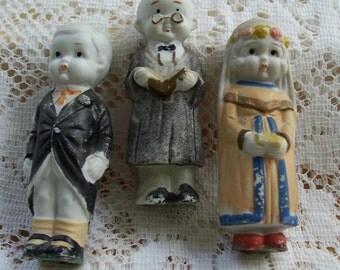 Bride, Groom and Preacher Bisque Cake Topper Dolls
