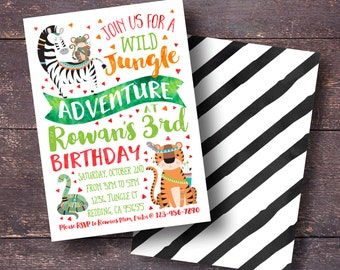 Jungle Birthday Invitation, Jungle Birthday Party, Jungle Party Invitation, Safari Birthday Invitation, Safari Invitation, Tribal Invitation