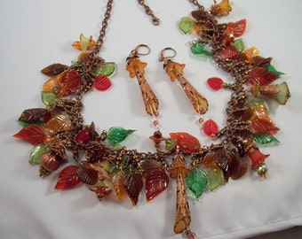 Autumn treasures necklace and earrings set - glass leaves and flower drops