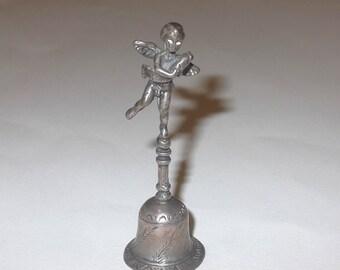 SALE Exquisite Petite Cherub Bell, 800 Silver Campanella Figurine, Cherub holding Fish Statue