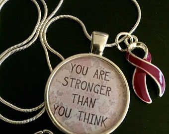 Burgundy ribbon necklace - You Are Stronger Than You Think  - multiple myeloma Awareness Survivor Gift