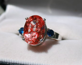 """Red Quartz Quench Crackled with Blue Cz Accents """"Superhero"""" Ring Sterling Silver Three Stone Ring"""