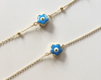 Light Blue Daisy Evil Eye Bracelet/Anklet,Gold Plated Evil Eye Bracelet,Jewelry,Cute Bracelet ,Gold plated ,Evil Eye Jewelry,Stylish Jewelry
