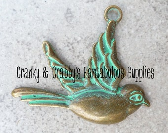 Patina Finish Sparrow 50mm x 60mm   - Bronze Patina Finish   Pendant