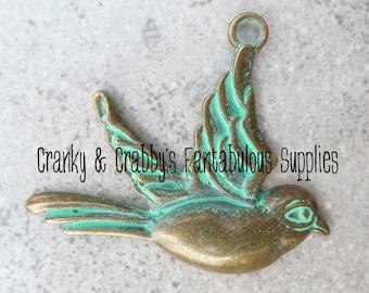 Patina Finish Sparrow 50mm x 60mm   - Bronze Patina Finish   Pendant