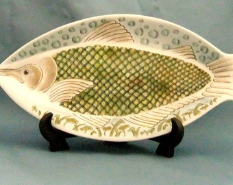 Handpainted porcelain tray with fantasy fish