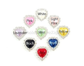 Pearl Heart Rhinestones -20mm Heart Shaped - Flat Back Metal - White, Light Pink, Pink, Yellow, Mint, Royal Blue, Red, Black, Lavender