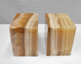 Vintage 1979 Marble Block Bookends Trophy Gift Presented Brown Tan Marble Natural Stone