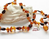 "Set of Amber Teething Necklace 12.5""- 13.0"" and Bracelet / Anklet 5.5""- 5.9""- Cognac and Cherry Amber Beads - Baby Amber - Screw clasp, 18R"