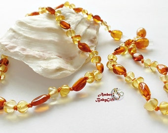 """Set of  Amber Necklace 12.5""""-13.0"""" and Bracelet / Anklet 5.5""""- 5.9"""" - Amber Multicolor Beads - Boy - Girl  - Jewelry - Screw clasp, 12R"""