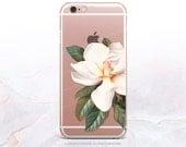 iPhone 7 Magnolia Clear Rubber Case iPhone 7 Plus Clear Case iPhone 6 Clear Case iPhone 6S Case iPhone SE Case Samsung S7 Edge Case U59