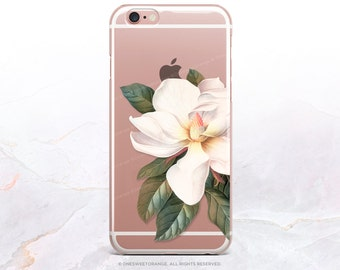 iPhone 7 Case Magnolia Clear Rubber Case iPhone 7 Plus Clear Case iPhone 6 Clear Case iPhone 6S Case iPhone SE Case Samsung S7 Edge Case U59