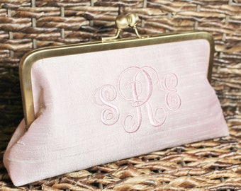 Monogrammed Silk Dupioni Clutch - Wedding Clutch - Bridesmaid Clutch - Baby Pink