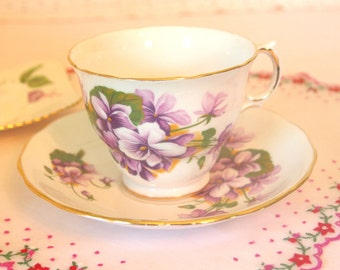Vintage Tea Cup and Saucer Set with Purple Violets | Royal Kent Fine China England | Gift for Her Tea Party