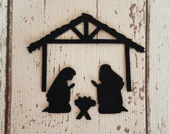 Nativity Christmas silhouettes scene, set, die cut in felt for craft and embellishment, felt board set, Christmas decor
